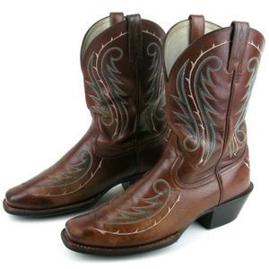 ARIAT Brown Leather Cowboy Boot Western Square Toe